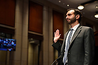 John Elias, a career official in the Justice Department's antitrust division, is sworn in before the House Judiciary Committee on Capitol Hill in Washington, Wednesday, June 24, 2020, for a hearing on oversight of the Justice Department and a probe into the politicization of the department under Attorney General William Barr.<br /> Credit: Susan Walsh / Pool via CNP/AdMedia