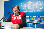 Sochi, RUSSIA - Mar 5 2014 -  Canada's Chef de Mission Ozzie Sawicki prepares for the flag bearer announcement prior to the Sochi 2014 Paralympic Winter Games in Sochi, Russia.  (Photo: Matthew Murnaghan/Canadian Paralympic Committee)