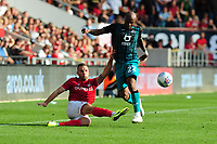 Andreas Weimann of Bristol City battles with Andre Ayew of Swansea City during the Sky Bet Championship match between Bristol City and Swansea City at Ashton Gate in Bristol, England, UK. Saturday 21 September 2019