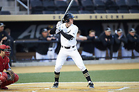Cole McNamee (40) of the Wake Forest Demon Deacons at bat against the Sacred Heart Pioneers at David F. Couch Ballpark on February 15, 2019 in  Winston-Salem, North Carolina.  The Demon Deacons defeated the Pioneers 14-1. (Brian Westerholt/Four Seam Images)