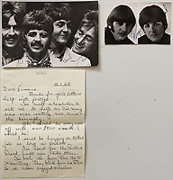 BNPS.co.uk (01202 558833)<br /> Pic: OmegaAuctions/BNPS<br /> <br /> Pictured: Louise Harrison sent over signed pictures of the band to Lorraine<br /> <br /> A collection of letters George Harrison's mother wrote to a Beatles fan over a five-year period has emerged for sale.<br /> <br /> Louise Harrison wrote to super fan Lorraine O'Malley from August 1964 until her death in 1970, sharing notable events in the band and Harrison's life like the band getting MBEs and her son's marriage to Pattie Boyd.<br /> <br /> Mrs O'Malley, who started writing as a star-struck 16-year-old, kept the letters safely stored in a safety deposit box for the next 50 years.<br /> <br /> She has now decided to put the 55 letters up for sale with Omega Auctions, based in Merseyside, with an estimate of £6,000.