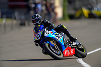 Richard Cooper (UK) after winning the Robert Holden Memorial race. The 2019 Suzuki International Series Cemetery Circuit motorcycle raceday at Cooks Gardens in Wanganui, New Zealand on Thursday, 26 December 2019. Photo: Dave Lintott / lintottphoto.co.nz