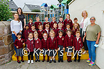 Junior infants in Miss Una Guiney's  class in Mercy Moyderwell Primary school on Wednesday. L to r: Una Guiney (Class teacher), Mary Hazelwood (Teacher), Moira Quinlan (Principal) and Sabrina Cavanagh (SNA)