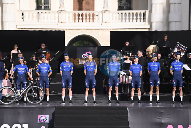 Deceuninck-QuickStep on stage at team presentation of the 2021 Giro d'Italia inside the Cortile d'Onore of the Castello del Valentino, on the occasion of the 160th anniversary of the Unification of Italy, Turin, Italy. 6th May 2021.  <br /> Picture: LaPresse/Fabio Ferrari   Cyclefile<br /> <br /> All photos usage must carry mandatory copyright credit (© Cyclefile   LaPresse/Fabio Ferrari)