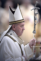 Pope Francis  during a mass on Christmas eve marking the birth of Jesus Christ on December 24, 2019 at St Peter's basilica in the Vatican.