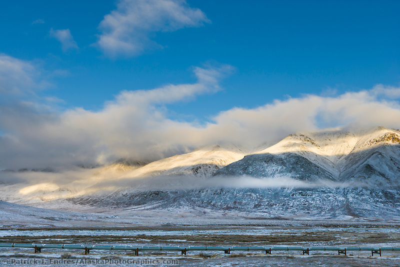 Trans Alaska oil pipeline transects tundra in the Endicott Mountains of the Brooks Range, Arctic, Alaska.