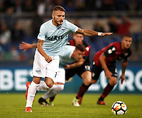 Calcio, Serie A: Roma, stadio Olimpico, 22 ottobre 2017.<br /> Lazio's Ciro Immobile is going to kick a penalty during the Italian Serie A football match between Lazio and Cagliari at Rome's Olympic stadium, October 22, 2017.<br /> UPDATE IMAGES PRESS/Isabella Bonotto