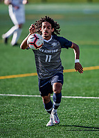 9 April 2021: University of New Hampshire Wildcat Men's Soccer Midfielder Bilal Kamal, a Sophomore from London, England, in first-half action against the University of Vermont Catamounts at Virtue Field in Burlington, Vermont. The Wildcats defeated the Catamounts 2-1 in America East, Division 1 play. Mandatory Credit: Ed Wolfstein Photo *** RAW (NEF) Image File Available ***