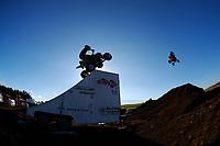 IMS freestyle ATV (all terrain vehicle) demo at Parker Ranch rodeo grounds, Waimea, Big Island, Hawaii