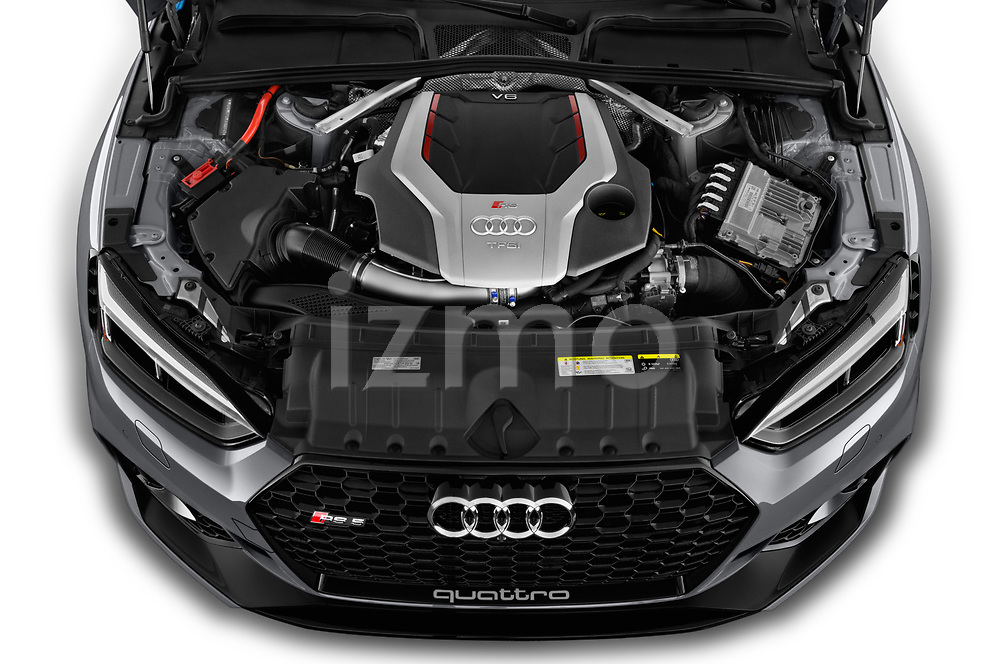 Car Stock 2019 Audi RS-5-Sportback - 5 Door Hatchback Engine  high angle detail view