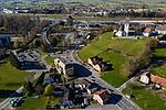 Drohnenaufnahme: Liechtenstein.<br /> Along, Eschnerstrasse, Entlang der Eschnerstrasse, Rhine-River, Rhein, Gamprin-Bendern.<br /> Foto: ©Paul J. Trummer