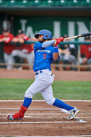Ronny Brito (5) of the Ogden Raptors bats against the Great Falls Voyagers at Lindquist Field on August 21, 2018 in Ogden, Utah. Great Falls defeated Ogden 14-5. (Stephen Smith/Four Seam Images)