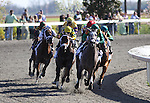 Paddy O'Prado with Kent Desormeaux (green cap) leads the field at the top of the stretch in The Toyota Bluegrass Stakes at Keeneland Race Course. 04.10.2010