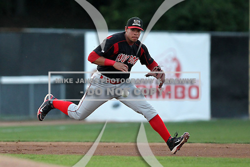 Batavia Muckdogs third baseman Jon Rodriguez during a game vs. the Jamestown Jammers at Russell Diethrick Park in Jamestown, New York September 1, 2010.   Batavia defeated Jamestown 10-5.  Photo By Mike Janes/Four Seam Images