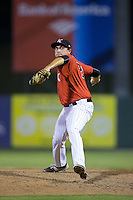 Kannapolis Intimidators relief pitcher Brandon Quintero (28) in action against the West Virginia Power at Kannapolis Intimidators Stadium on August 20, 2016 in Kannapolis, North Carolina.  The Intimidators defeated the Power 4-0.  (Brian Westerholt/Four Seam Images)