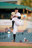 Jupiter Hammerheads relief pitcher Chad Smith (25) delivers a pitch during a game against the Palm Beach Cardinals on August 4, 2018 at Roger Dean Chevrolet Stadium in Jupiter, Florida.  Palm Beach defeated Jupiter 7-6.  (Mike Janes/Four Seam Images)