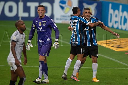 14th November 2020; Arena de Gremio, Porto Alegre, Brazil; Brazilian Serie A football league, Gremio versus Ceara; Diego Souza of Gremio celebrates his goal in the 40th minute for 3-1
