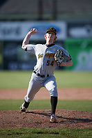 West Virginia Black Bears relief pitcher Shane Kemp (54) delivers a warmup pitch during a game against the Batavia Muckdogs on June 25, 2017 at Dwyer Stadium in Batavia, New York.  Batavia defeated West Virginia 4-1 in nine innings of a scheduled seven inning game.  (Mike Janes/Four Seam Images)