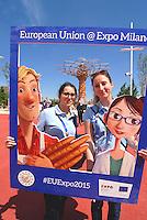 Milan 2 May 2015<br /> Expo 2015, giovani promotori del Padiglione dell'Unione Europea.<br /> Expo 2015, young promoters of the Pavilion of the European Union. <br /> Photo Livio Senigalliesi