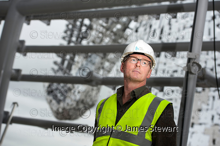 Sculptor Andy Scott takes a look inside the up headed Kelpie during a visit to the Helix site to get an insight on the progress of The Kelpie construction.