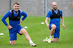 St Johnstone Training...25.08.21<br />Jason Kerr and Chris Kane pictured during training at McDiarmid Park this morning ahead of tomorrow's Europa Conference League qualifier second leg against Lask<br />Picture by Graeme Hart.<br />Copyright Perthshire Picture Agency<br />Tel: 01738 623350  Mobile: 07990 594431