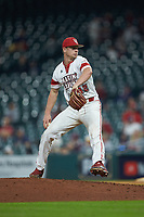 Louisiana Ragin' Cajuns relief pitcher Logan Stoelke (32) in action against the Vanderbilt Commodores in game five of the 2018 Shriners Hospitals for Children College Classic at Minute Maid Park on March 3, 2018 in Houston, Texas.  The Ragin' Cajuns defeated the Commodores 3-0.  (Brian Westerholt/Four Seam Images)