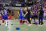 GER - Muelheim an der Ruhr, Germany, February 05: After the FinalFour final men hockey match between Rot-Weiss Koeln (whize) and Mannheimer HC (blue) on February 5, 2017 at innogy Sporthalle in Muelheim an der Ruhr, Germany. (Photo by Dirk Markgraf / www.265-images.com) *** Local caption ***