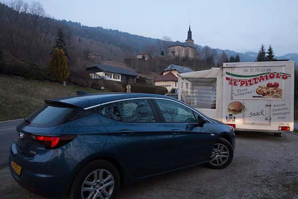 Apres ski drive from Avoriaz to Les Carroz, France.