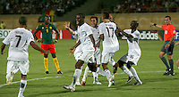 The United States' Tony Taylor (7) celebrates the first goal against Cameroon's during the FIFA Under 20 World Cup Group C Match between the United States and Cameroon at the Mubarak Stadium on September 29, 2009 in Suez, Egypt.