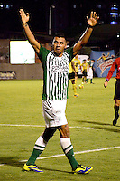 MEDELLIN -COLOMBIA, 05-12-2013. Jefferson Duque de  Atlético Nacional celebra un gol durante partido con Itaguí por la fecha 5 de los cuadrangulares finales de la Liga Postobón II 2013 jugado en el estadio Metroplitano Ciudad de Itagüí./ Jefferson Duque of Atletico Nacional celebrates a goal during match against Itagui for the fifth date of final quadrangulars of the Postobon League II 2013 played at Metropolitano Ciudad de Itagüi. Photo: VizzorImage/Luis Rios/STR