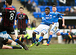 St Johnstone v Inverness Caledonian Thistle....22.02.14    SPFL<br /> Nigel Hasselbaink's shots is saved by Dean Brill<br /> Picture by Graeme Hart.<br /> Copyright Perthshire Picture Agency<br /> Tel: 01738 623350  Mobile: 07990 594431