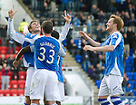 St Johnstone v St Mirren....06.10.12      SPL.Murray Davidson celebrates his goal with Nigel Hasselbaink, Tam Scobbie and Liam Craig.Picture by Graeme Hart..Copyright Perthshire Picture Agency.Tel: 01738 623350  Mobile: 07990 594431