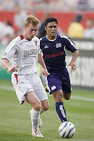 The MetroStars' Chris Leitch and Cassio run down a ball played into space. The New England Revolution defeated the MetroStars 4 to 2 at Gillette Stadium, Foxbourgh, MA, on June 25, 2005.