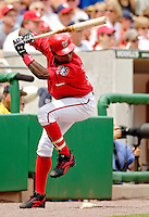 11 June 2006: Alfonso Soriano, outfielder for the Washington Nationals, prepares for his plate appearance against the Philadelphia Phillies at RFK Stadium, in Washington, DC. The Nationals shut out the visiting Phillies 6-0 to take the series three games to one...Mandatory Photo Credit: Ed Wolfstein Photo..