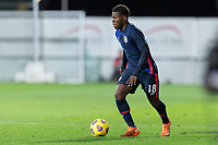 WIENER NEUSTADT, AUSTRIA - : Yunus Musah #18 of the United States looks for an open man during a game between  at Stadion Wiener Neustadt on ,  in Wiener Neustadt, Austria.