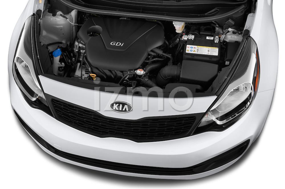 Car Stock 2015 KIA Rio LX AT 4 Door Sedan 2WD Engine high angle detail view