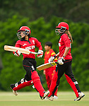 Natural Yip Sze Wan (l) and Keenu Gill of Hong Kong in action during their ICC 2016 Women's World Cup Asia Qualifier match between China and Hong Kong on 10 October 2016 at the Hong Kong Cricket Club in Hong Kong, China. Photo by Victor Fraile / Power Sport Images