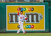 21 May 2018: Washington Nationals outfielder Juan Soto, making his first Major League start, pulls in the first out of the game against the San Diego Padres at Nationals Park in Washington, DC. The 19 year-old Soto got his first career MLB hit: a 3-run home run on the first pitch he faced as the Nationals defeated the Padres 10-2, taking the first game of their 3-game series. Mandatory Credit: Ed Wolfstein Photo *** RAW (NEF) Image File Available ***