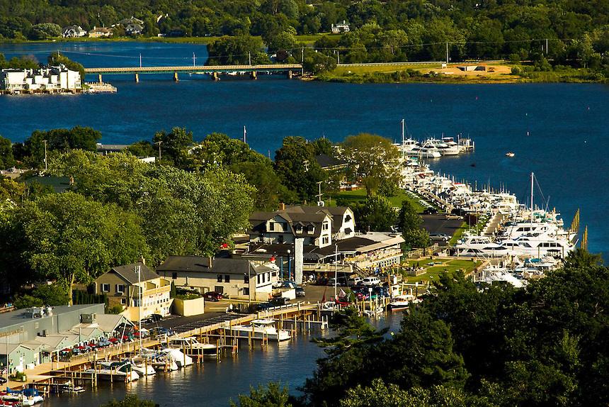 Aerial views of the city of Saugatuck Michigan