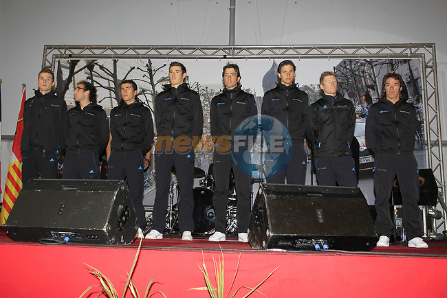 Sky Procycling Team riders on stage on stage before the team presentations at the Palais Provincial in Liege city centre before the 98th edition of Liege-Bastogne-Liege 2012. 21st April 2012.  <br /> (Photo by Eoin Clarke/NEWSFILE).