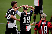 Leonardo Bonucci of Juventus reacts during the Serie A football match between AC Milan and Juventus FC at stadio San Siro in Milan ( Italy ), July 7th, 2020. Play resumes behind closed doors following the outbreak of the coronavirus disease. <br /> Photo Federico Tardito / Insidefoto