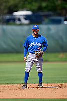 Toronto Blue Jays second baseman Adrian Montero (14) during an Extended Spring Training game against the Philadelphia Phillies on June 12, 2021 at the Carpenter Complex in Clearwater, Florida. (Mike Janes/Four Seam Images)