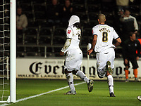ATTENTION SPORTS PICTURE DESK<br /> Pictured: Jason Scotland of Swansea (L) celebrating his opening goal with team mate Darren Pratley (R).<br /> Re: Coca Cola Championship, Swansea City FC v Plymouth Argyle at the Liberty Stadium, Swansea, south Wales. 10 March 2009.<br /> Picture by D Legakis Photography / Athena Picture Agency, Swansea 07815441513