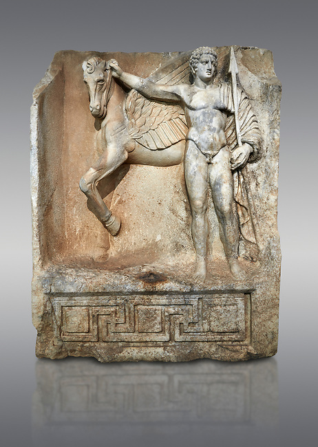 """Roman Sebasteion relief  sculpture of  Bellerophon Aphrodisias Museum, Aphrodisias, Turkey.<br /> <br /> Bellerophon was a Lykian hero and was claimed as a founder of Aphrodisias. He holds his winged horse Pegasos. The deign was modelled on another relief panel in the series """"Royal hero with Dod Hunting"""". The carving is poor and the sculptor may have been a novice.modelled"""