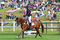 5th September 2021; Bicton Park, East Budleigh Salterton, Budleigh Salterton, United Kingdom: Bicton CCI 5* Equestrian Event; Gemma Tattersall riding Chilli Knight punches the air in delight after winning Bicton 5*
