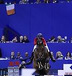 OMAHA, NEBRASKA - MAR 30: Audrey Coulter rides Capital Colnardo during the FEI World Cup Jumping Final I at the CenturyLink Center on March 30, 2017 in Omaha, Nebraska. (Photo by Taylor Pence/Eclipse Sportswire/Getty Images)