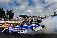 Aug. 7, 2011; Kent, WA, USA; NHRA funny car driver Bob Tasca III during the Northwest Nationals at Pacific Raceways. Mandatory Credit: Mark J. Rebilas-