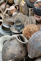 Tripoli, Libya - Antique Pottery and Metal Work in the Medina (Old City).