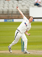 28th May 2021; Emirates Old Trafford, Manchester, Lancashire, England; County Championship Cricket, Lancashire versus Yorkshire, Day 2; Yorkshire captain Steven Patterson bowls