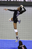 Omaha, NE - DECEMBER 20:  Middle blocker Foluke Akinradewo #16 of the Stanford Cardinal during Stanford's 20-25, 24-26, 23-25 loss against the Penn State Nittany Lions in the 2008 NCAA Division I Women's Volleyball Final Four Championship match on December 20, 2008 at the Qwest Center in Omaha, Nebraska.